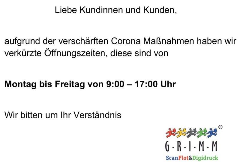 Grimm ScanPlot & Digitaldruck BerlinCorona Oeffnungszeiten