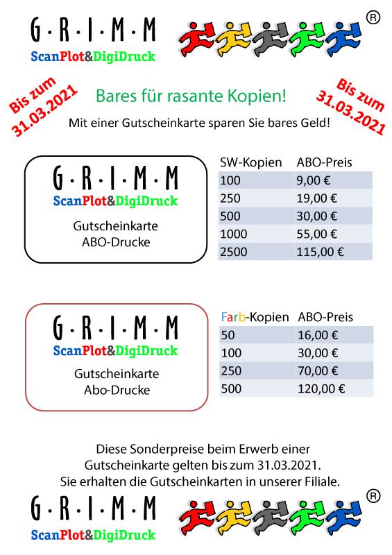 Gutscheinkarte GRIMM Scan Plot & Digidruck Berlin